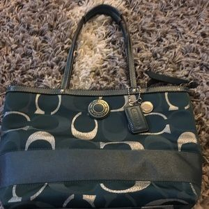 Beautiful teal and silver coach hand bag